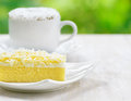 Food cup of coffee and fresh cake Royalty Free Stock Photo