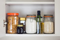 Food cupboard, pantry with jars Royalty Free Stock Photo