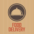 Food delivery brown label on special brown background Royalty Free Stock Images