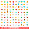 100 food delivery icons set, cartoon style