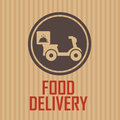 Food delivery label on special brown background Royalty Free Stock Photos