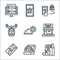 food delivery line icons. linear set. quality vector line set such as grocery, pizza, voucher, shop, hours, drone, place, add cart Royalty Free Stock Photo