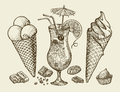 Food, dessert, drink. Hand drawn vintage ice cream, sundae, chocolate, candy, cocktail, lemonade. Sketch vector Royalty Free Stock Photo