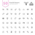 Food and Dessert Icon Set. 50 Line Vector Icons.