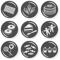 Food dessert sweets gray icon set chocolate ice cream cake donuts gingerbread lollipops cupcakes flat monochrome button with Stock Photography