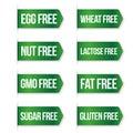 Food diet icon collection set, gluten free, sugar free, nut free
