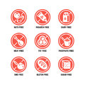 Food dietary symbols. Gmo free, no gluten, sugarless and allergy vector icons set Royalty Free Stock Photo