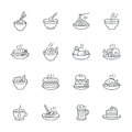 Food dishes icon set on white background, vector meal icons outline style