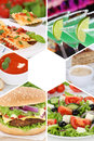 Food and drink collection collage beverages drinks meal meals re Royalty Free Stock Photo