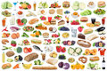 Food and drink collection collage healthy eating fruits vegetables fruit drinks isolated Royalty Free Stock Photo