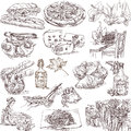 Food and drink collections of hand drawn illustrations isolated on white around the world Royalty Free Stock Images