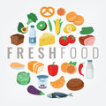 Food and Drink. Fruits and vegetables. Healthy eating concept. Vector