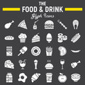 Food and drink glyph icon set, meal signs