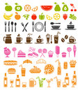 Food and drink icons big vector set of Royalty Free Stock Photography