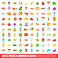 100 food and drink icons set, cartoon style