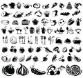 Food and drink icons set vector black Royalty Free Stock Image