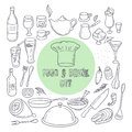 Food and drink outline doodle icons. Set of hand drawn kitchen elements Royalty Free Stock Photo