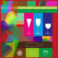 Food and drink poster with symbols suited to catering on abstract background Royalty Free Stock Photo