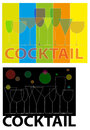Food and drink symbols suited to catering on abstract background Stock Images