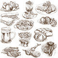Food and drinks around the world set no white set collection of an hand drawn illustrations description full sized hand drawn Royalty Free Stock Images