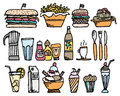 Food and drinks color restaurant stuff cartoon drink set Royalty Free Stock Photo