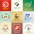 Food and drinks icons set background templates different Royalty Free Stock Image
