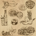 Food and drinks pack around the world set no collection of an hand drawn illustrations description each drawing comprise of two Stock Photos