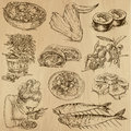 Food and drinks pack around the world set no collection of an hand drawn illustrations description each drawing comprise of two Royalty Free Stock Image