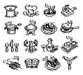 Food and drinks vector illustration repair authors in Royalty Free Stock Images