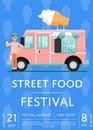 Food festival invitation with ice cream truck