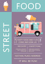 Food festival invitation with ice cream truck