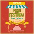 Food festival retro poster vector illustration of Stock Images