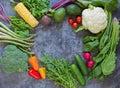 Food frame of fresh vehetables