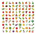Food fruit and vegetables set of colored icons harvest a collection colorful characters vector illustration Royalty Free Stock Images