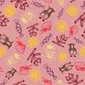 Food hand-drawn sketch line icons seamless pattern on dark background