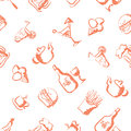 Food hand drawn stylized seamless pattern eps Royalty Free Stock Image