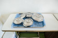 Food for hospital patients prepare a bowls of in the trays the to the Royalty Free Stock Image