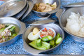 Food for hospital patients prepare a bowls of in the trays the to the Royalty Free Stock Photo
