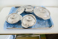Food for hospital patients prepare a bowls of in the trays the to the Royalty Free Stock Photos