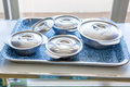 Food for hospital patients x prepare a bowls of in the trays the to the x Royalty Free Stock Photography