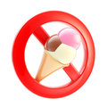 Food or ice cream forbidden sign isolated Royalty Free Stock Images