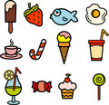 Food icon color set Royalty Free Stock Images