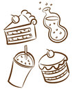 Food icon doodle isolated white background Stock Photography