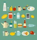 Food icon set. Stock Photos