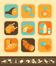 Food icon set of icons color and monochrome version Stock Image