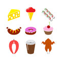 Food icon set. Isolated on a white Stock Photography