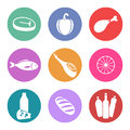 Food icon set several of icons that reference sections supermarket or hypermarket Stock Photography