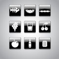 Food icon on square black and white button collection vector illustration Stock Photos