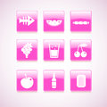 Food icon on square pink button collection vector illustration Royalty Free Stock Photography