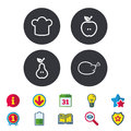 Food icons. Apple and Pear fruit symbols.